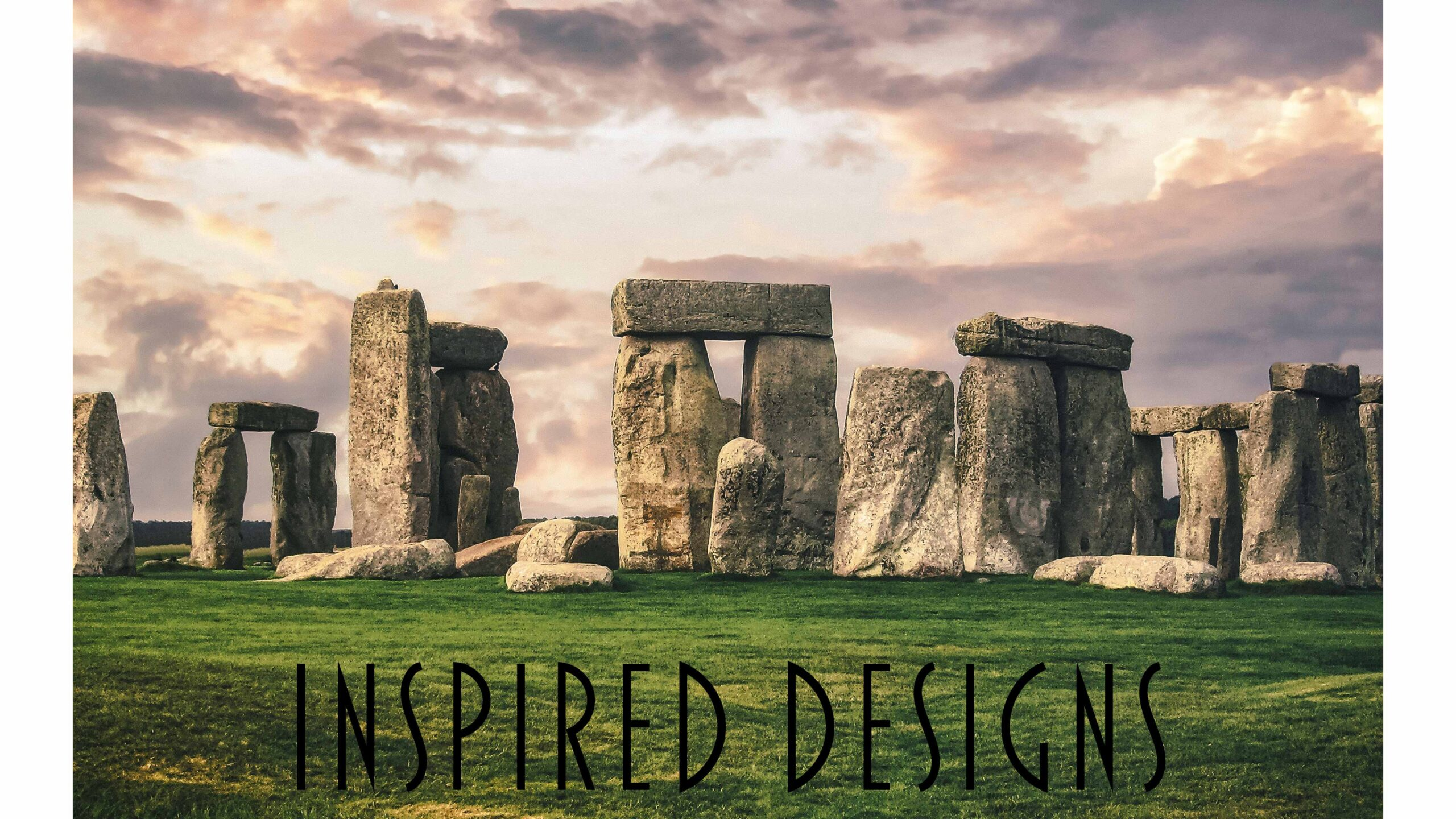Stone Henge with Inspired Designs text