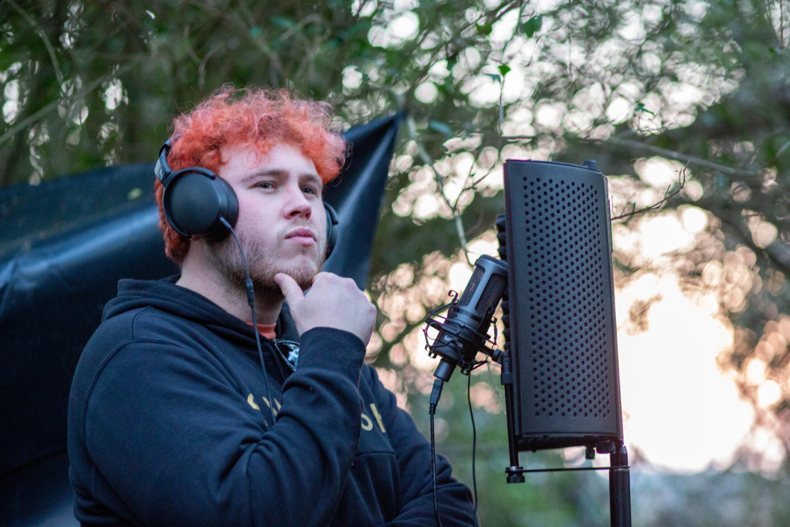 Man singing outside